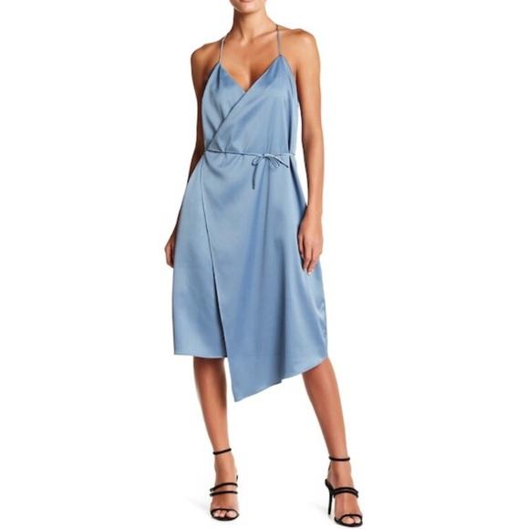 2b84f0ee59 14th Fourteenth Place Slip Wrap Dusty Blue Dress